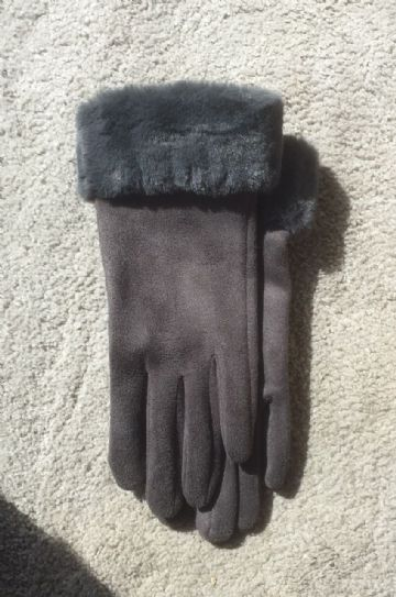 Lined Gloves With Faux Fur Trim - Charcoal